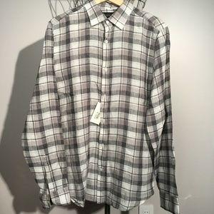 New BLOOMINGDALE'S $98 Grey Plaid Linen Shirt